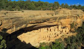 Cliff Palace below the overhanging cliffs of the Green Mesa, Mesa Verde National Park, Colorado royalty free stock photo