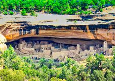Cliff Palace at Mesa Verde Far View royalty free stock photography