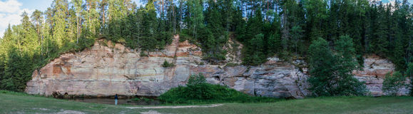 Cliff panorama in the nature park Royalty Free Stock Photo