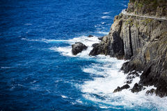 Cliff path and sea in Cinque Terre Italy Stock Image