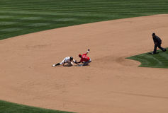 Cliff Pennington slides during steal attempt Stock Photography