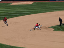 Cliff Pennington slides to second attemping steal Stock Photo