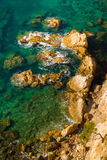 Cliff, pine and rocks in Costa Brava, Spain. Stock Photo