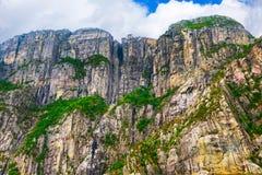 Cliff Preikestolen dans le fjord Lysefjord, Norvège Photo libre de droits
