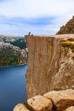 Cliff Preikestolen in fjord Lysefjord - Norway Stock Image