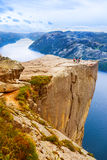 Cliff Preikestolen in fjord Lysefjord - Norway Royalty Free Stock Photography