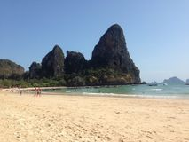 Cliff at the Railay in Krabi Thailand. Amazing beach in Krabi in Thailand forever on vacation Royalty Free Stock Images