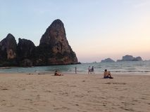 Cliff at the Railay in Krabi Thailand. Amazing beach in Krabi in Thailand forever on vacation stock images