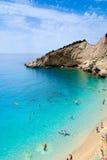 Cliff reaching out into the sea. Of Porto Katsiki, Lefkada, Greece Stock Images