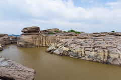 Cliff Rock. The cliff is made from water power. It will appear when level of water is down Royalty Free Stock Photo