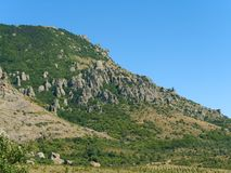 Cliff and Rock in mountain. Cliff in flank of mountain Stock Image