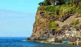 Cliff. The rock protruding into the Atlantic ocean. Island Madeira stock photo