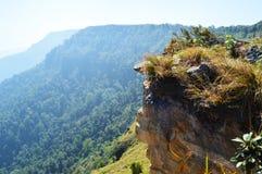 Cliff rock. Stones grass Mountains Royalty Free Stock Photos