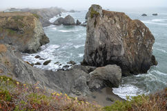 Cliff rocks in Sonoma County, CA. Scene from lookout south of Rock Point Beach off the pacific coast highway stock photo
