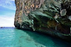 Cliff and Rocks, Thailand. Cliff and Rocks near the Maya Bay in Ko (Island) Phi Phi Ley, Thailand Royalty Free Stock Photography