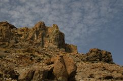 Cliff and rocky ground. Medio Almud. Mogán. Gran Canaria. Canary Islands. Spain stock photo