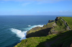 Cliff`s of Moher with White Water at the Base in Ireland Stock Photo