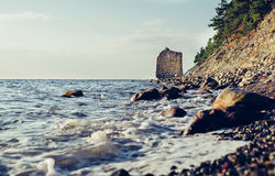 Cliff Sail on coast of Black sea Royalty Free Stock Image