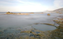 Cliff of the salt marshes in the locality of Palinuro. In the Cilento National Park Royalty Free Stock Photo