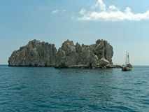Cliff in sea. Cliff and boat in sea Stock Photography