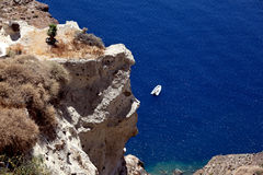 Cliff and sea. Above view. Santorini island. Royalty Free Stock Images
