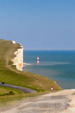 Cliff, sea, sky and lighthouse at Beachy Head Stock Photography