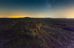 Cliff at semi-desert landscape of Navarra in    night Royalty Free Stock Image