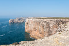 Cliff shore of Cape St Vincent in Portugal Stock Photos