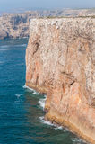Cliff shore of Cape St Vincent in Portugal Stock Photography