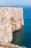 Cliff shore of Cape St Vincent in Portugal Royalty Free Stock Photos
