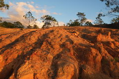 Cliff showing texture and shadows caused by sunset. Close shot to a cliff, showing texture and shadows caused by sunset. Photograph taken in Ludo, Algarve royalty free stock photos
