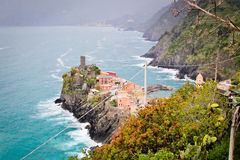 A cliff side town at Cinque Terre Royalty Free Stock Photos