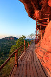 Cliff side wooden bridge at Wat Phu tok, Bueng Kan, Thailand Royalty Free Stock Photography