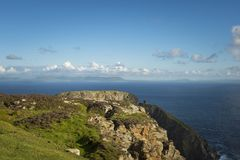 A cliff at Sliabh Liag, Co. Donegal on a sunny day.  stock photo