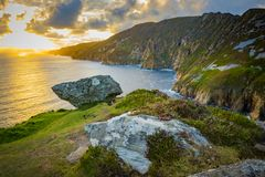 A cliff at Sliabh Liag, Co. Donegal on a sunny day.  royalty free stock image