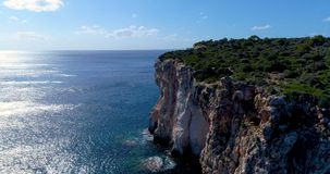 Cliff on the Spanish coast. Aérial view stock video footage
