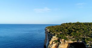 Cliff on the Spanish coast. Aérial view stock footage