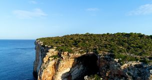 Cliff on the Spanish coast. Aérial view stock video