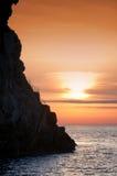 Cliff Strombolicchio, zonsondergang, Italië Royalty-vrije Stock Foto