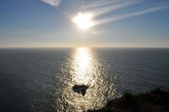 The cliff in the sun - Cape Roca royalty free stock photos