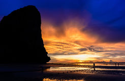 The cliff and sunset. The cliff and the beautiful sunset Royalty Free Stock Photos