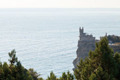 Cliff with Swallow Nest castle at morning, Crimea Royalty Free Stock Photography