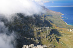 Cliff of table mountain in South Africa. Covered by clouds Stock Image