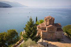 Cliff-top church at Lake Ohrid, Macedonia. Cliff-top church of Saint Ioan Kaneo, Lake Ohrid, Macedonia Stock Photo