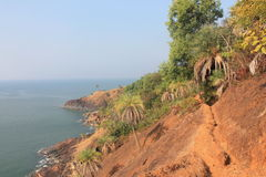 Cliff Trails of Gokarna. A shot of the ocean in Gokarna, India. Cliff trails on the right were particularly interesting and fun Royalty Free Stock Photos