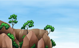 A cliff with trees Stock Photo
