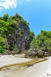 Cliff and vertical walls at the breach at Krabi Royalty Free Stock Images