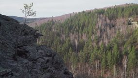 Cliff view of the mountain range and mixed forest. Cliff view of the mountain range and mixed forest stock footage