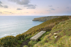 Cliff View Seascape, Cornwall, UK. Royalty Free Stock Images