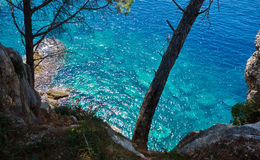 Cliff. View from the cliff to the sea near Petrovac town, Montenegro Stock Image